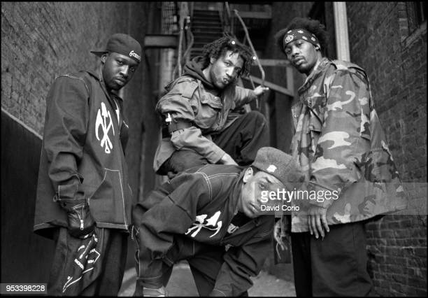 Group portrait of The Gravediggaz in Tribeca New York City on 14 May 1994 LR The Gatekeeper The Grym Reaper The Undertaker and The Rzarector