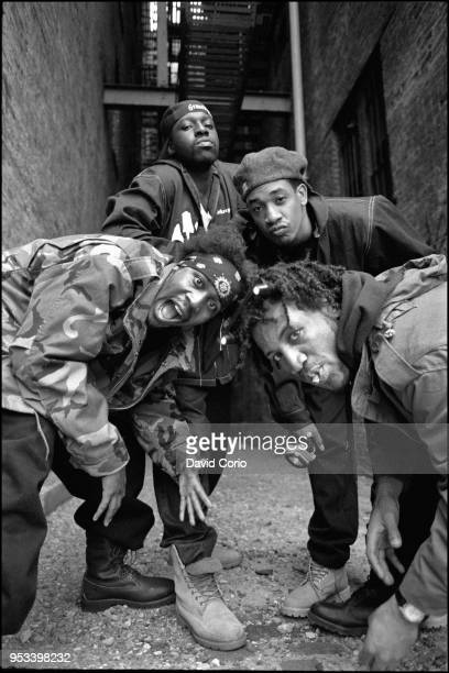 Group portrait of The Gravediggaz in Tribeca New York City on 14 May 1994 Clockwise from bottom left The Rzarector The Gatekeeper The Undertaker and...