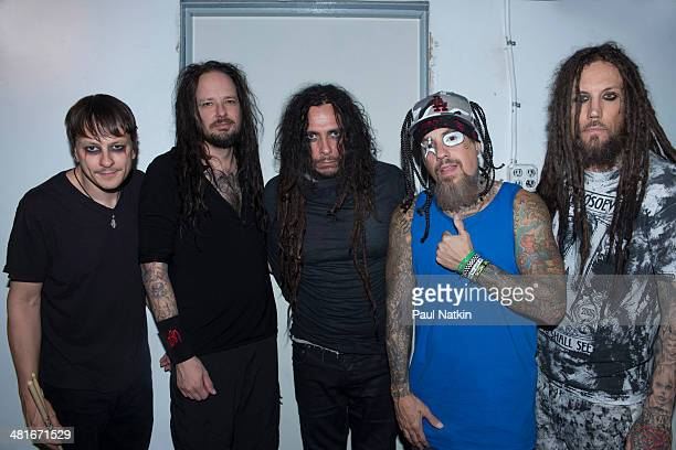 Group portrait of the group Korn as they pose backstage at the Riviera Theater Chicago Illinois October 2 2013 Pictured are from left Ray Luzier...