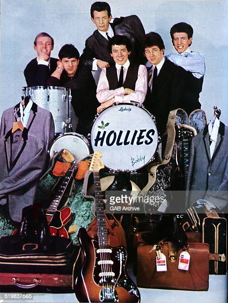 Group portrait of The Hollies with their road manager 1964 LR Bobby Elliott Eric Haydock Allan Clarke Tony Hicks Graham Nash