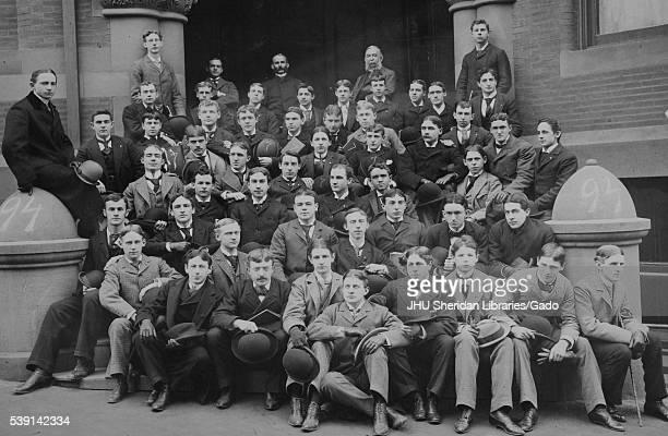 Group portrait of the Johns Hopkins University undergraduate class of 1919. .
