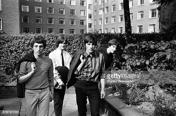 Group portrait of The Kinks London 1965 LR Pete Quaife Dave Davies Mick Avory Ray Davies