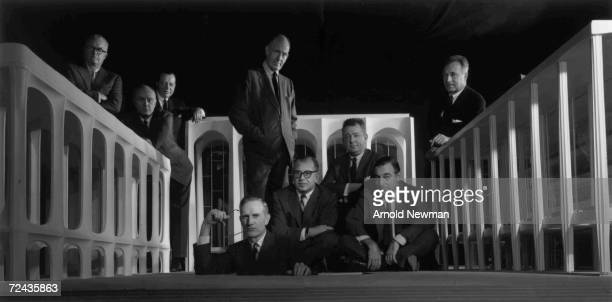 Group portrait of the Lincoln Center Architects Group American architect Edward J Mathews American architect Philip Johnson Frenchborn theater...