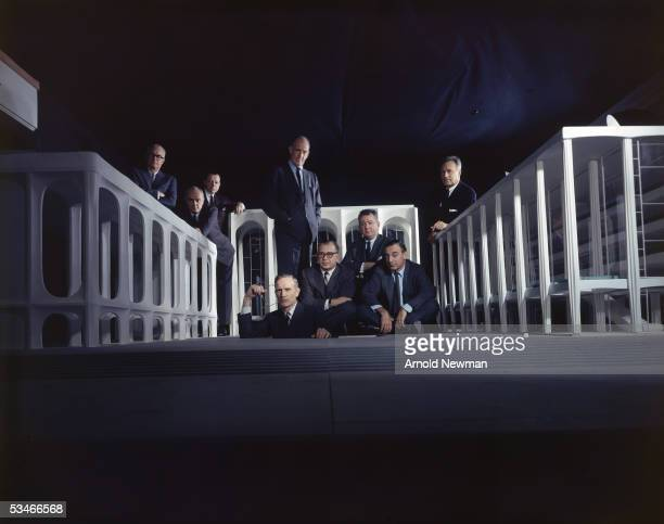 Group portrait of the Lincoln Center Architects Group including Edward Mathews Philip Johnson Jo Mielziner John D Rockefeller Eero Saarinen Gordon...