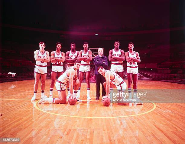 Group portrait of the New York Knicks basketball team New York December 4 1969 Pictured are front row from left Dave DeBuscherre and Bill Bradley and...