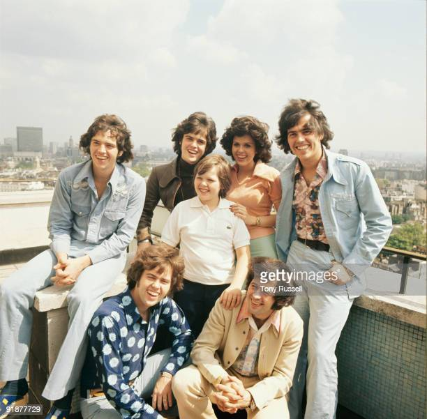 Group portrait of the Osmonds Left to right are Merrill Donny Marie and Jay Alan Jimmy and Wayne in London England in the 1970's