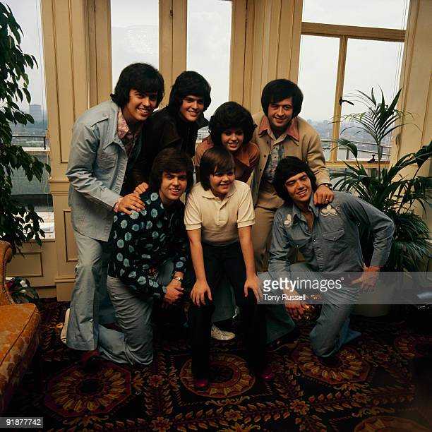 Group portrait of the Osmonds Left to right are Wayne Donny Marie and Jay Alan Jimmy and Merrill in London England in the 1970's