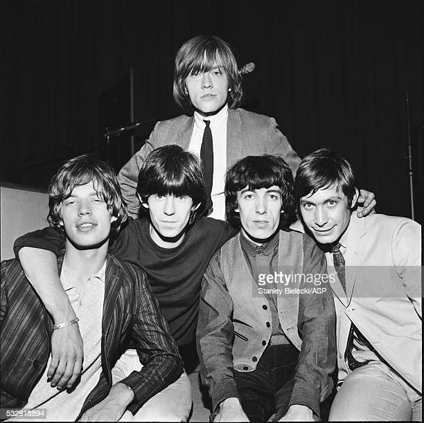 Group portrait of the Rolling Stones circa 1964 LR Mick Jagger Keith Richards Brian Jones Bill Wyman Charlie Watts
