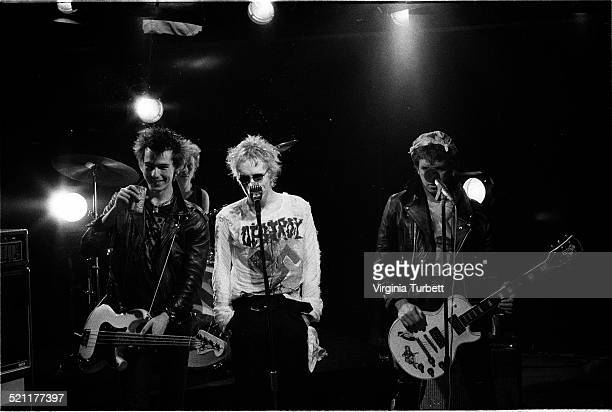Group portrait of the Sex Pistols recording a video for their song 'Pretty Vacant' London June 1977 LR Sid Vicious Johnny Rotten Steve Jones