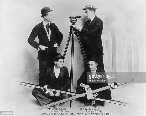 Group portrait of the Stanford University surveying squad, which includes future American president Herbert Hoover as a young man, Stanford,...