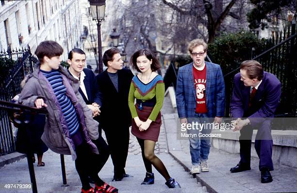 Group portrait of The Sugarcubes Paris France 1990 Bjork is third from right
