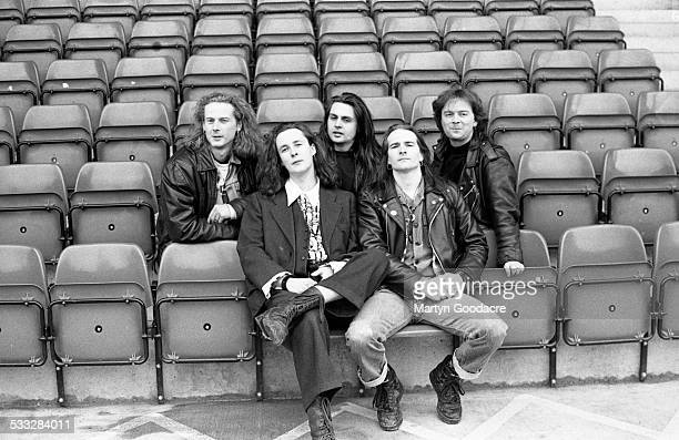 Group portrait of the Wonderstuff at Bescot Stadium, Walsall Football Club ground to promote their concert at the stadium, Walsall, United Kingdom,...