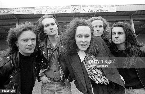 Group portrait of the Wonderstuff at Bescot Stadium Walsall Football Club ground to promote their concert at the stadium Walsall United Kingdom June...