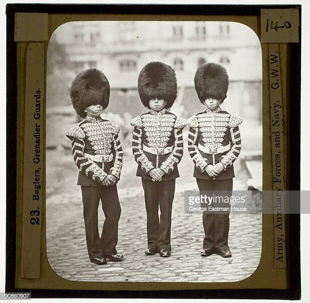 Group portrait of three buglers from the Grenadier Guards ca1880s