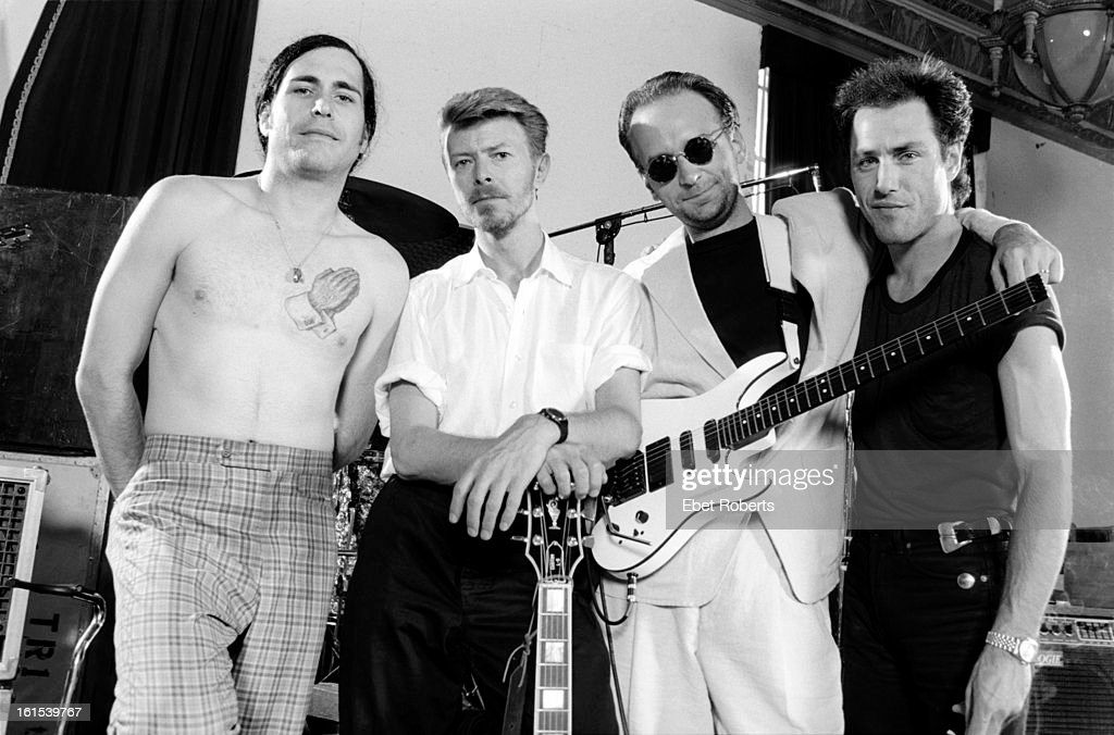 Group portrait of Tin Machine with David Bowie during rehearsals at Manhattan Center Studios in New York on 25th May,1989. (L-R) Hunt Sales, David Bowie, Reeves Gabrels and Tony Sales.