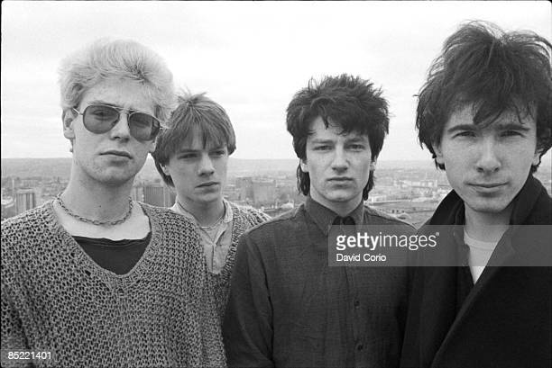 Group portrait of U2 on the roof of the Cork Country Club Hotel Cork Ireland March 2 1980 LR Larry Mullen Jnr Adam Clayton Bono The Edge