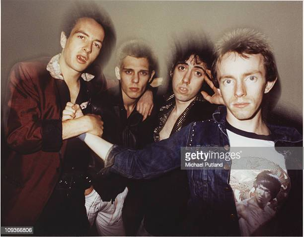 Group portrait of UK punk rock band The Clash, New York, September 1978, L-R Joe Strummer, Paul Simonon, Mick Jones, Nicky 'Topper' Headon.