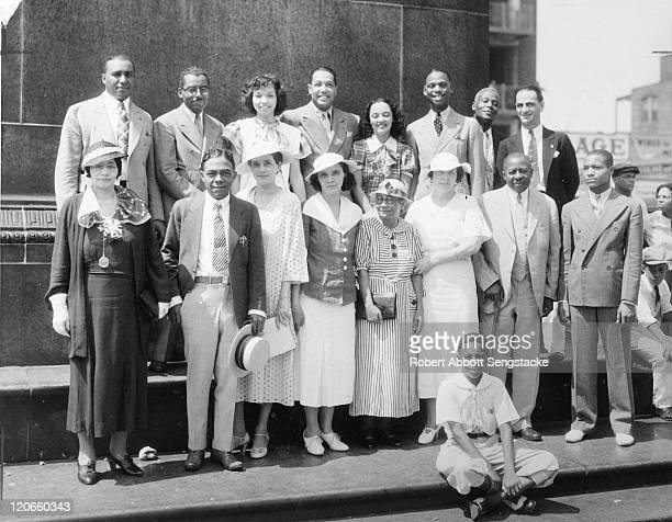 Group portrait of various dignitaries at the Bud Billiken parade Chicago Illinois 1934 Among those pictured are the parade's founder American...