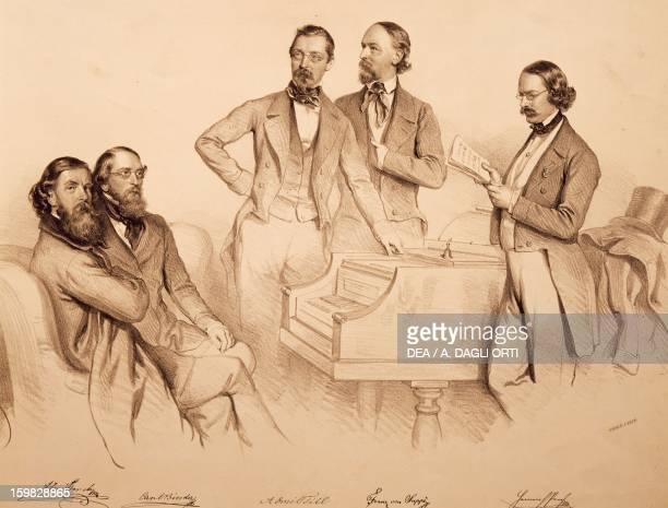 Group portrait of Viennese musicians and composer Franz von Suppe' Carl Binder Anton Storch Heinrich Proch and Anton Emil Titl litograph by Josef...
