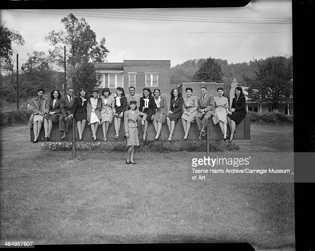 Group portrait of West Virginia State College students from Pittsburgh from left Beatrice Williams Doris Corsey Jesse Holliday Imogen Withington...