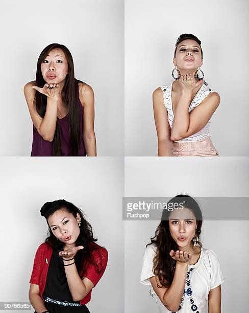 Group portrait of women blowing a kiss