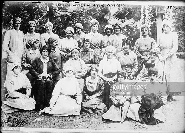 Group portrait of women munition workers during World War I England 1916