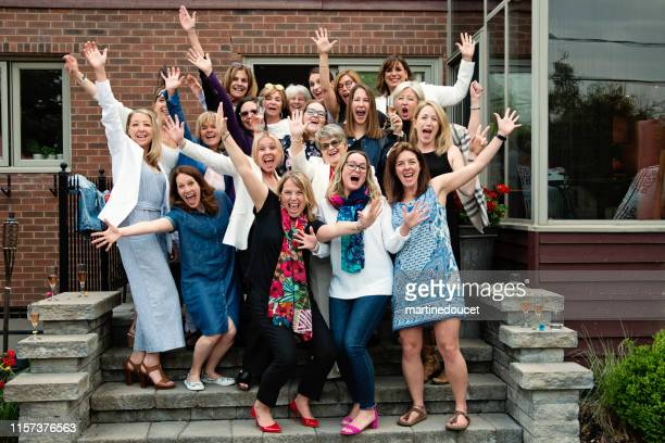 group portrait of women of all generations. - happy birthday canada stock pictures, royalty-free photos & images