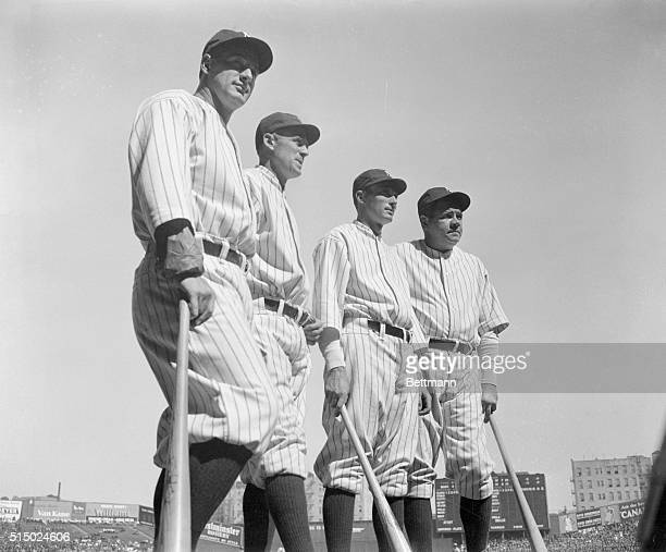 A 1931 group portrait of Yankee champions Babe Ruth Lou Gehrig Earl Combs and Tony Lazzeri