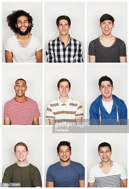 group portrait of young men - groupe moyen de personnes photos et images de collection