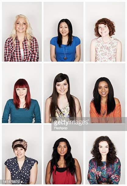 group portrait of young women - image montage stock pictures, royalty-free photos & images
