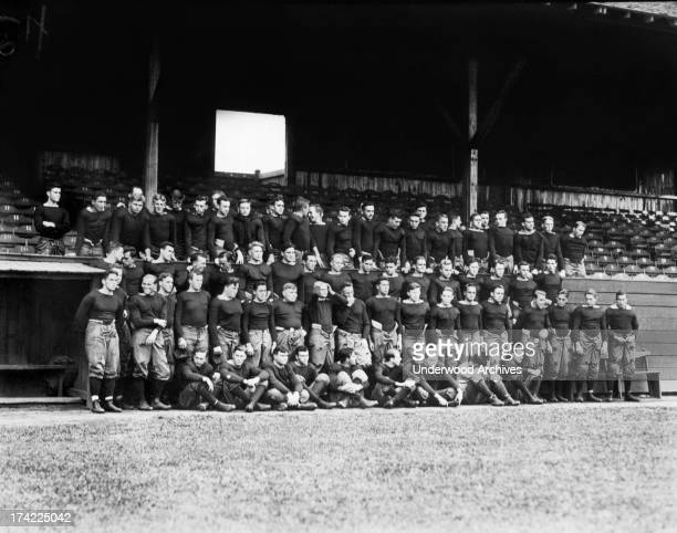 Group portrait showing the Yale football team New Haven Connecticut September 23 1912