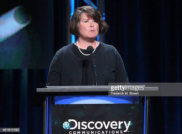 Group President Discovery Channel Science Channel and Velocity Eileen O'Neill speaks onstage at the Naked and Afraid panel during the Discovery...