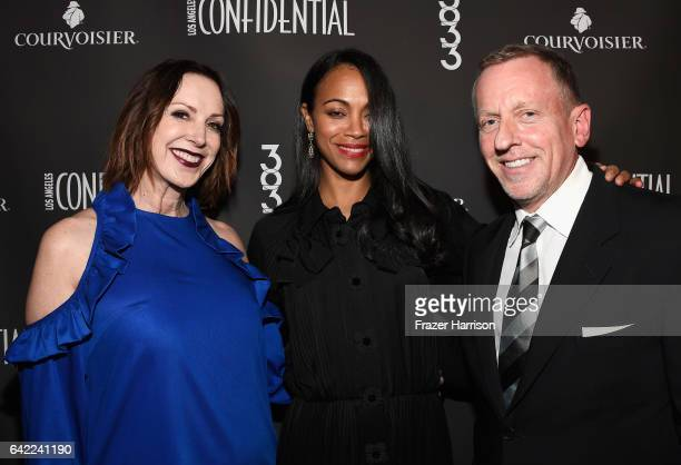 Group Publisher Los Angeles Confidential Alison Miller Actress Zoe Saldana and Editor in Chief Los Angeles Confidential Spencer Beck arrive at the...