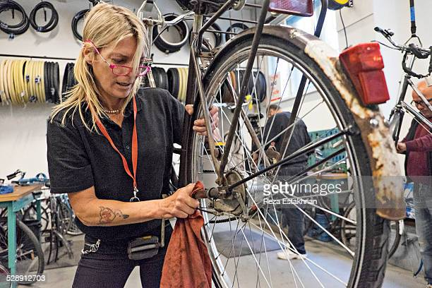 group repair bicycles - noord holland stockfoto's en -beelden