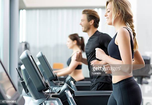 Group running on a treadmill