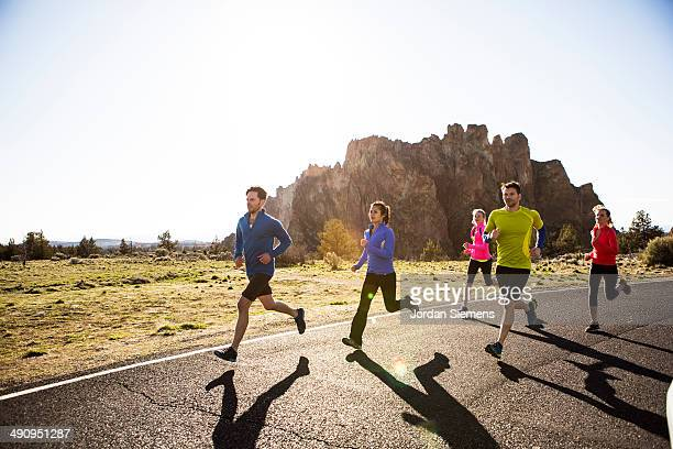 group running. - bend oregon stock photos and pictures