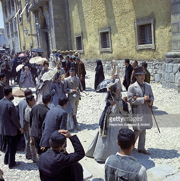 A group scene in The Leopard directed by Luchino Visconti in which we recognize American Actor Burt Lancaster French actor Alain Delon and Italian...