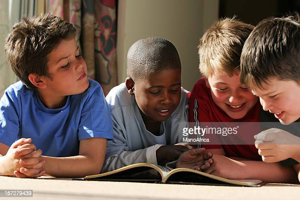 group schoolboy friends reading
