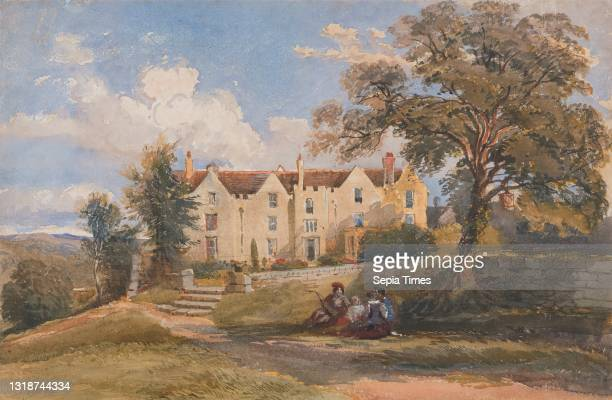 Group Seated in Grounds of a Large House, David Cox Jr., 1809–1885, British, between 1840 and 1849, Watercolor, pen and brown ink, gouache, and...