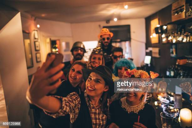 group selfie on a halloween party - happy halloween stock photos and pictures