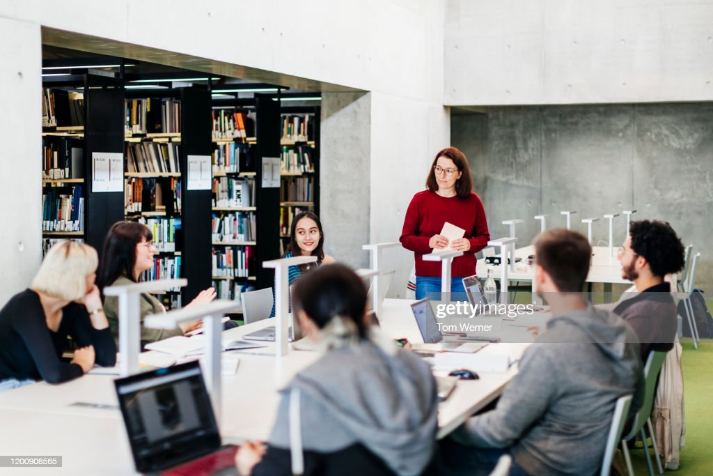 Group Seminar In Public Library : Stock Photo