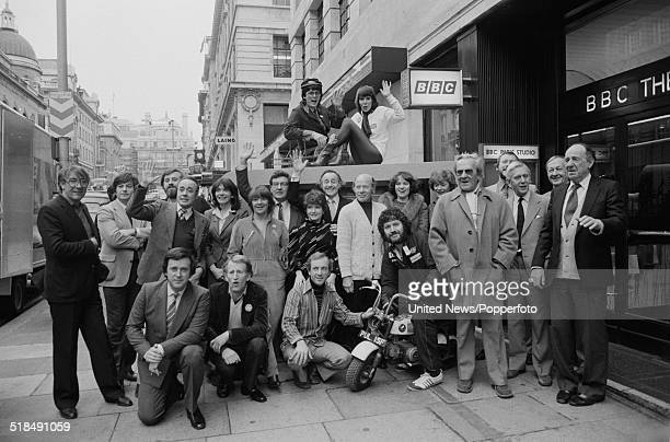 Group shot of BBC radio broadcasters posed together outside the entrance to BBC Paris Studio and Theatre in Lower Regent Street London on 6th January...