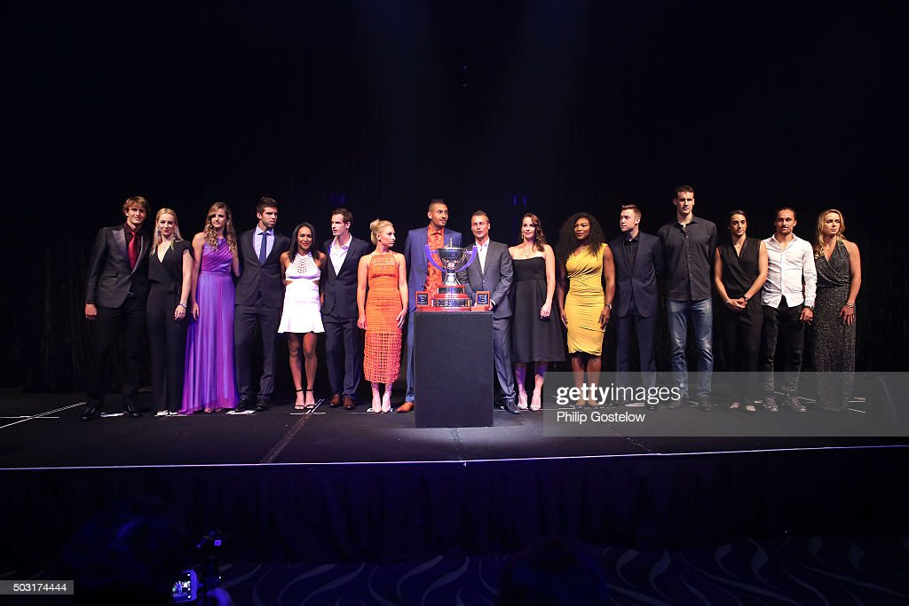 Group shot of Hopman Cup teams (L-R) Germany represented by Alexander Zverev & Sabine Lisicki, Czech Republic represented by Karolina Pliskova & Jiri Vesely, Great Britain represented by Heather Watson & Andy Murray, Australia Green represented by Daria Gavrilova & Nick Kyrgios, Australia Gold represented by Leyton Hewitt & Jarmila Gajdosova , USA represented by Serena Williams & Jack Sock, France represented by Kenny De Schepper & Caroline Garcia, Ukraine represented by Alexandr Golgopolov & Elina Svitolina at the 2016 Hopman Cup Player Party at Perth Crown on January 2, 2016 in Perth, Australia.Ê