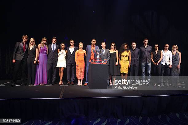 Group shot of Hopman Cup teams Germany represented by Alexander Zverev Sabine Lisicki Czech Republic represented by Karolina Pliskova Jiri Vesely...