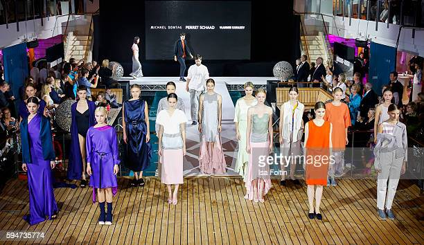 Group shot of models and the designers Michael Sontag Vladimir Karaleev and Tutia Schaad at the Fashion2Night event at EUROPA 2 on August 23 2016 in...