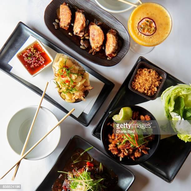 Group Shot of Pan Asian Food
