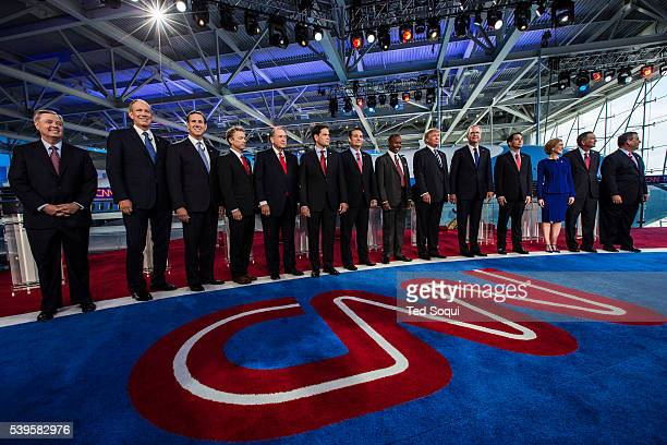 Group shot of Republican candidates before the Debate at the Ronald Reagan Presidential Library