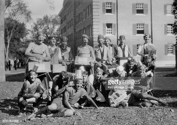 Group shot of students involved in a hazing prank at Dartmouth College in the 1920s