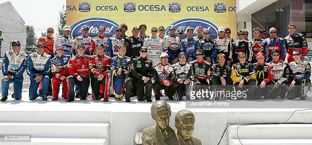 Group shot of the drivers is seen before the NASCAR Busch Series Telcel-Motorola 200 on March 5, 2006 at Autodromo Hermanos Rodriguez in Mexico City,...