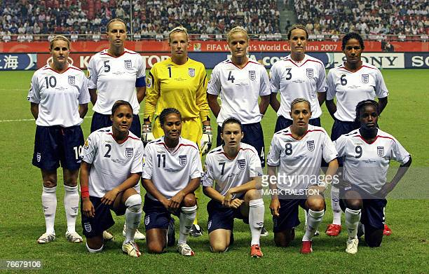 Group shot of the English football team Alex Scott Rachel Yankey Karen Carney Fara Williams Eniola Aluko Kelly Smith Faye White Rachel Brown Katie...